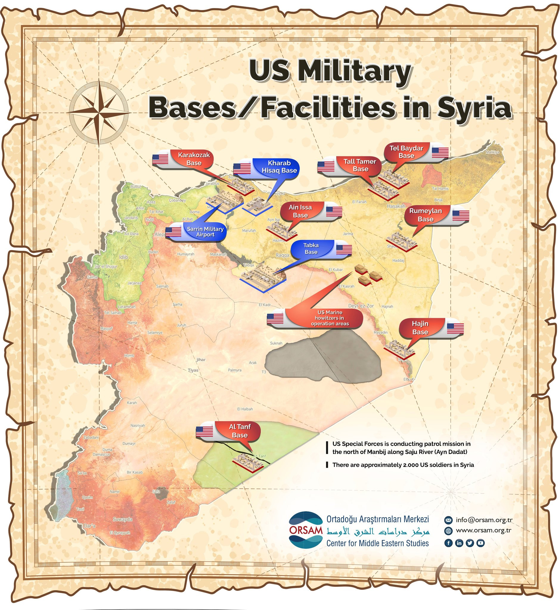 US Military Bases/Facilities in Syria